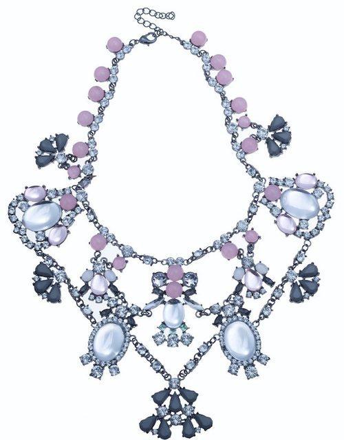 Maxi gargantilla con cristales lilas con forma de insectos