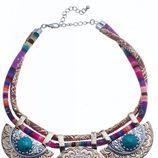 Maxi collar étnico con círculos plateados