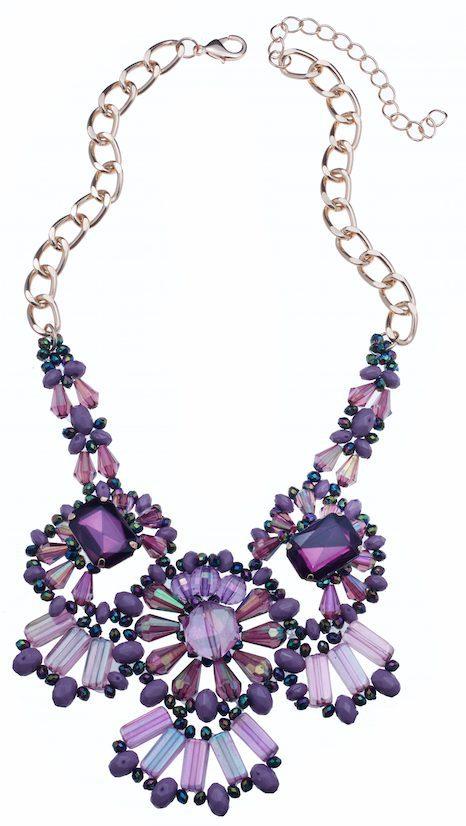 Collar en tonos lilas y violetas con piedras de efecto irisado