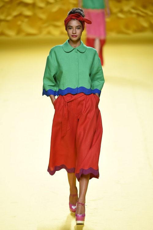 Pantalón maxi midi Agatha Ruiz de la Prada para primavera/verano 2016 Madrid Fashion Week