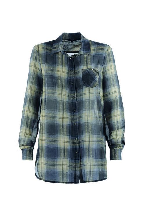 Camisa de cuadros gris y beige de la firma Kocca