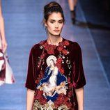 Vestido rojo y negro de la colección primavera/verano 2016 de Dolce & Gabbana en Milan Fashion Week
