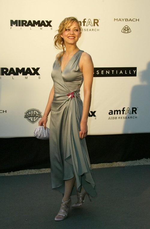 Marion Cotillard con vestido largo gris en gala benéfica contra el SIDA en Cannes en el 2004
