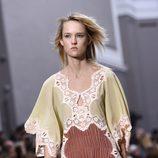 Vestido verde y marrón de la colección primavera/verano 2016 de Chloé en Paris Fashion Week