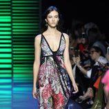 Vestido largo de flores de la colección de primavera/verano 2016 de Elie Saab en París Fashion Week