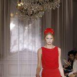 Vestido rojo de la colección primavera/verano 2012 de Nina Ricci en París