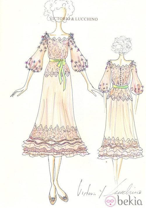 Looks Boda Duquesa de Alba: Boceto del vestido de novia de Cayetana de Alba