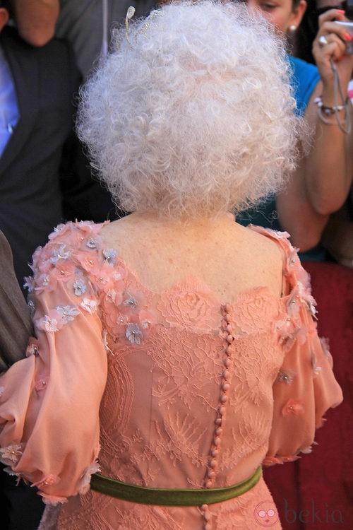 Looks Boda Duquesa de Alba: parte de atrás del vestido de novia de Cayetana de Alba