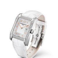 Reloj con correa blanca de la colección Hampton de la firma Baume & Mercier