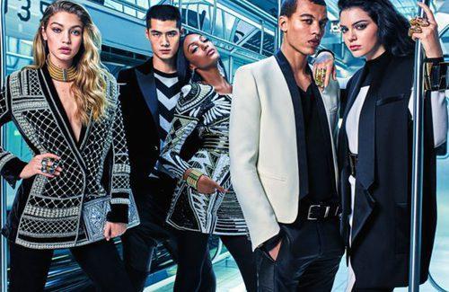 Cinco modelos posan para la campaña de Balmain para H&M