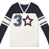 Camiseta de manga larga blanca y azul de la colección cápsula 2015 del 30 aniversario de Tommy Hilfiger