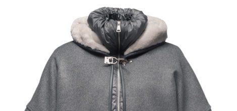 Abrigo gris con bolsillos de pelo de la colección otoño/invierno 2015 de la firma Fay