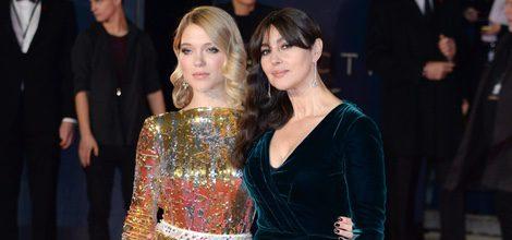 Lea Seydoux y Monica Belucci con vestidos de lentejuelas y verdoso de tercipelo en el estreno de 'Spectre' en Londres