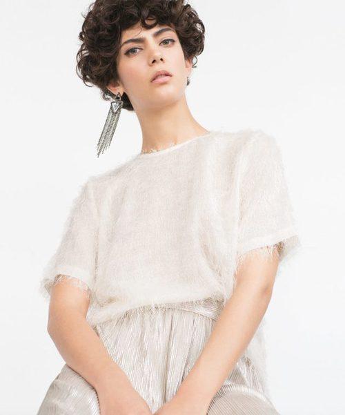 Camisa y pantalón nude de la colección de Zara Evening