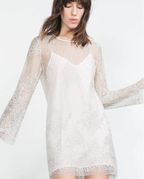 Vestido blanco con transparencias de la colección de Zara Evening