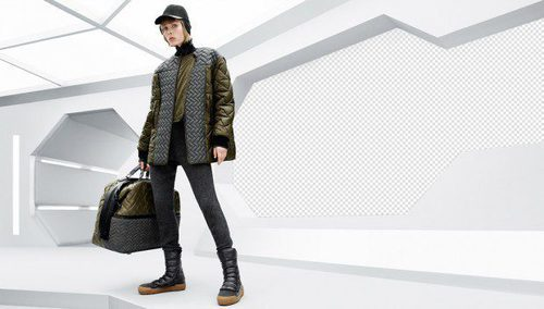Abrigo gris y verde y maleta acolchados de la colección de H&M otoño/invierno 2015/2016