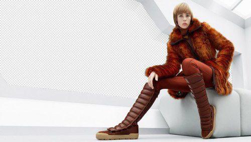 Abrigo de pelo naranja y botas acolchadas de la colección de H&M otoño/invierno 2015/2016