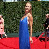 Heidi Klum con vestido azul en los Premios Emmy