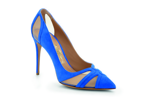Zapato de tacón azul klein de la colección Edgargo Osorio for Salvatore Ferragamo