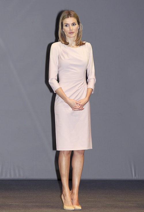 La Princesa Letizia con un vestido rosa de Felipe Varela en los Premios V de Vida 2011