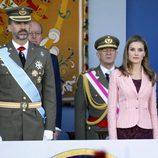 La Princesa Letizia con una americana rosa el Día de la Hispanidad 2013
