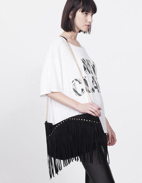 Camiseta blanca con mensaje y leggins negros de la colección Tartán de Invierno 2015/2016 de Blanco