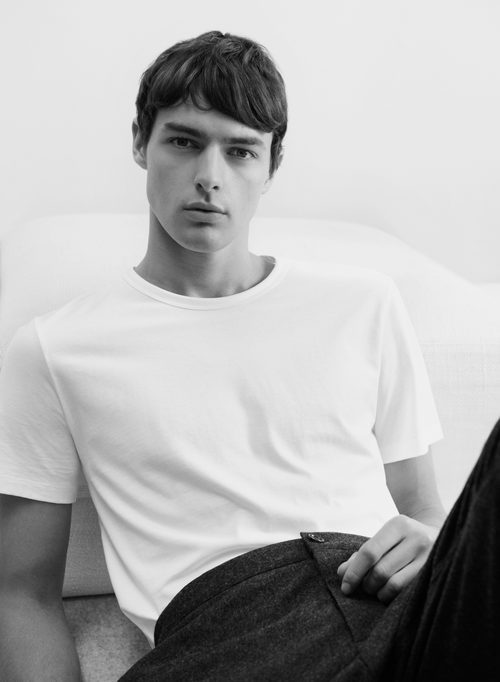 Camiseta blanca de algodón de la línea Leisure Wear de H&M