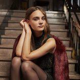 Abrigo de pelo burdeos de la colección Fiesta invierno 2015/2016 de Bershka
