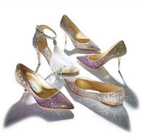 Varios zapatos glitter de la línea Let it Shine de la colección Cruise 2015 de Jimmy Choo