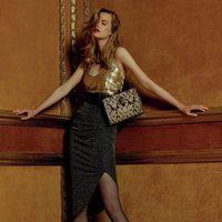 Top dorado y falda midi gris de la colección Navidad 2015 de Primark