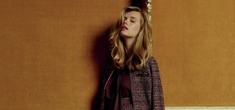 Traje de chaqueta en tweed de tonos burdeos y beige de la colección Navidad 2015 de Primark