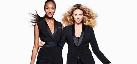 Jourdan Dunn y Natasha Poly con looks total black en la colección de Navidad 2015 de H&M