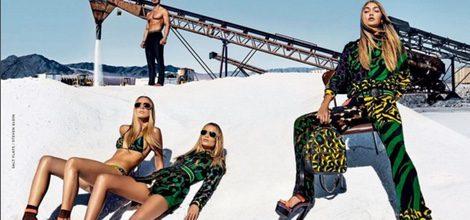 Raquel Zimmerman, Natasha Poly y Gigi Hadid para Versace primavera/verano 2016