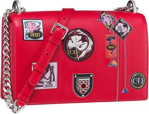 Bolso rojo pequeño rectangular con asa larga de cadena de la línea 'Dior Paradise'