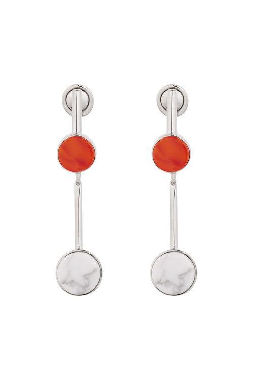 Pendientes largos en plata y metal con círculos rojos y blancos de la línea 'Dior Paradise'