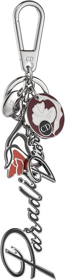 Llavero con logo y detalle floral en plata y tonos rojizos de la línea 'Dior Paradise'