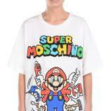 Camiseta blanca con personaje Mario Bros de 'Super Moschino' para AW 15