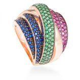 Anillo Luam de piedras preciosas multicolor de la línea 'Edurne for Luxor' para la temporada invierno 2015