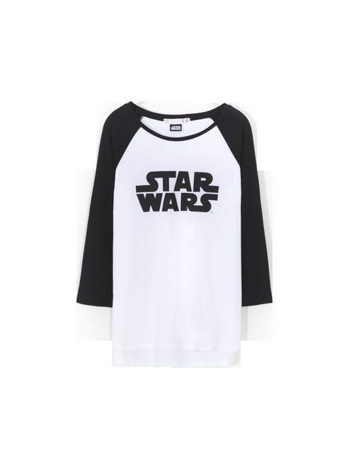 Camiseta blanca con logo y mangas negras de 'Star Wars' para Lefties