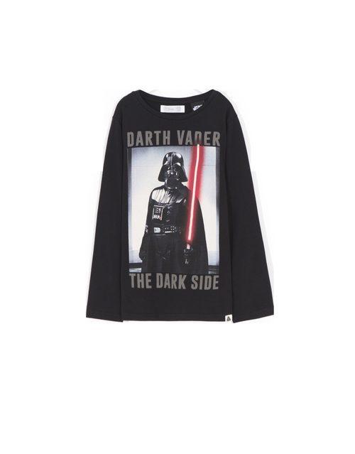 Camiseta manga larga negra con Darth Vader de 'Star Wars' para Lefties