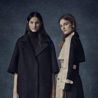 Abrigos midi en negro y crema de la colección Pre-Fall 2016 de Erdem