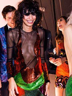 Vestido de lúrex y transparencias colección Tom Ford