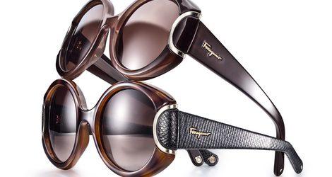 Gafas de sol marrones con cristal pardo y patillas de diseño de Salvatore Ferragamo