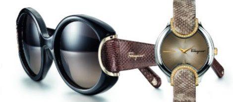 Gafas de sol y reloj con correa de piel de serpiente de Salvatore Ferragamo