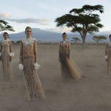 Vestidos largos ocres de tul con detalle blancos de Valentino