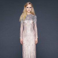 Vestido largo recto brilli brilli en champagne de Reem-Acra