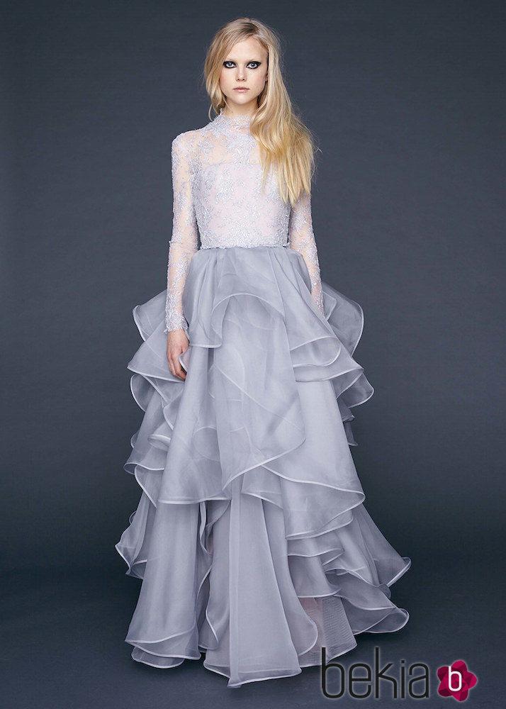 2e00095cf Anterior Vestido con encaje Chantilly y falda alta de gasa de Reem-Acra