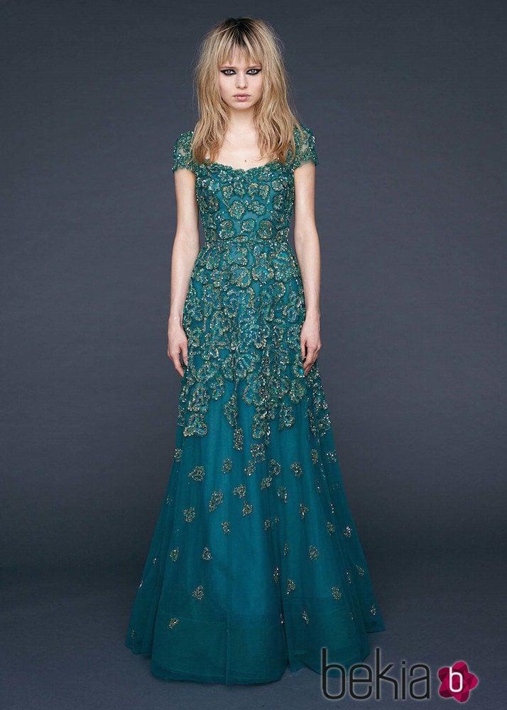 1c354122c Vestido verde esmeralda con encaje Chantilly de Reem-Acra - Nueva ...