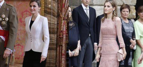La Reina Letizia con vestido midi rosa palo de Felipe Varela