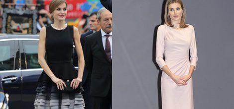 La Reina Letizia con vestido negro de Felipe Varela